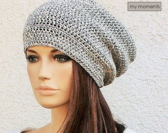 Crochet Hat / Cap Beanie Cotton white / grey