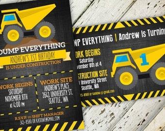 Dump Everything Construction Birthday Invitation   5x7   Print-It-Yourself   Digital Download   Printable   Custom Invitation