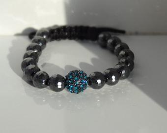 Teal Pave' Bead with Hematite Macrame Bracelet