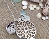 Oil Diffusing Aromatherapy Locket Pendant with Light Seafoam Chalcedony, Sand Dollar, and Hawaiian Hebrew Cone Shell Charms