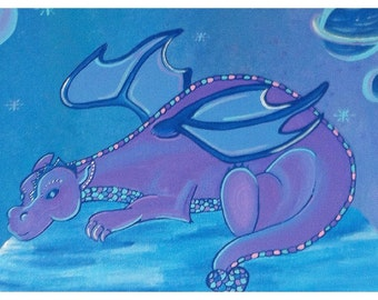 Dragon Painting /Acrylic On Canvas/ Original Art /Nursery Decor /Childrens Art  / Kids Room/ Fantasy Art/Mythical Painting