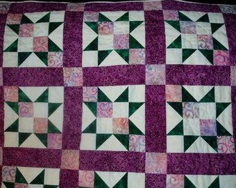 Hand Quilted Baby Quilt - Rose, purple, and Green batik baby girl quilt