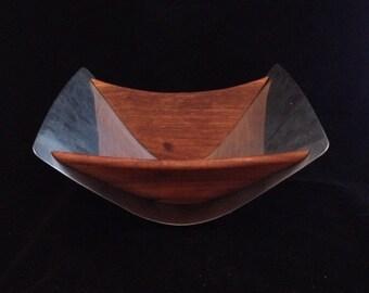 Vintage Swedish Wood and Stainless Rectangular Bowl