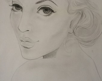 The original pencil drawing 'The Look' A3 size the only one!