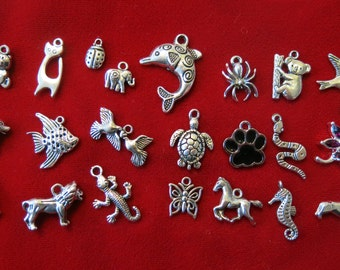 """SET! 22pc """"animal"""" deluxe charms set in antique silver style (CS1)"""