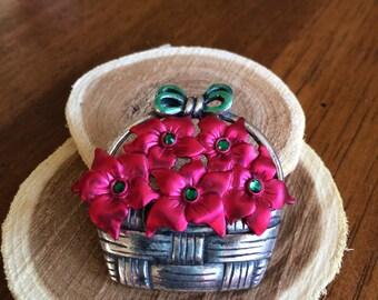 Vintage KC Poinsettias Christmas Brooch/Pin