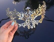 Gold Masquerade Mask, Little Black Dress Masquerade Ball Mask, Elegant Vine Design, Sparkling Rhinestones Included