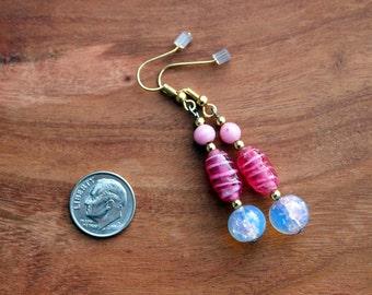 673 Pink Dangle Earrings, Pink Drop Earrings, Long Beaded Earrings, Pink and White Hand Beaded Earrings,  pink Earrings Womens Accessories