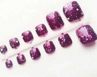24 Purple False Toe Nails, Handpainted Fake Nail Set, Artificial Toenails, Hand Painted Nail Art Design