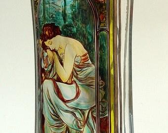 "Alphonse Mucha .Vase The Night.15""x7.5"". ORIGINAL Sekyt art studio."