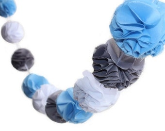 Blue, White and Grey Pom Pom Garland with Fabric Poms