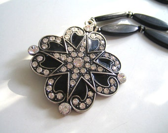 Starry Night: Vintage Art Deco pendant, ebony wood, sterling silver, Swarovski crystals. Necklace and earring set.