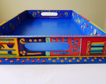 Recycled Serving Tray Blue with Multi-Colored Mixed Media Patchwork Design