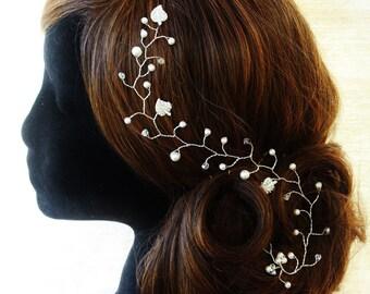 Crystal Hair Vine, Bridal Hair Vine,Bridal Headpiece, Wedding Hair Vine, Hand Made Hair Accessories Swarovski Pearls Crystals Diamante