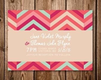 Colourful Chevron Wedding Invitation