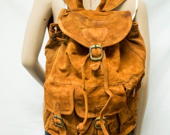 Large suede leather backpack,brown Leather , Backpack bag