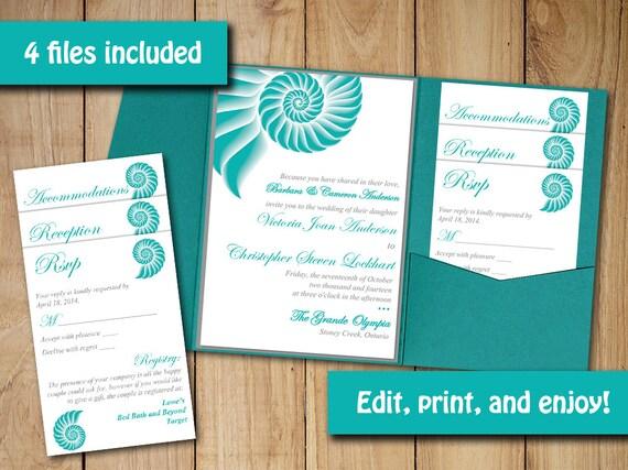 Pocketfold Wedding Invitation Template Set By