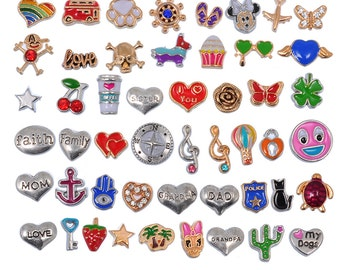 Lot Mix Floating Charms for Glass Living Memory Lockets Wholesale Gold & Silver Free Shipping #L-FLTCHR-MIX2