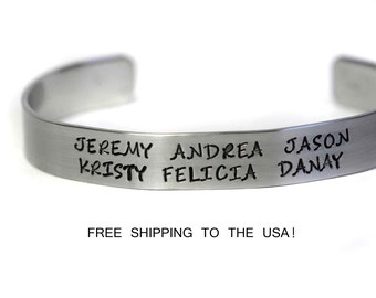 Hand stamped bangle/ custom braclet