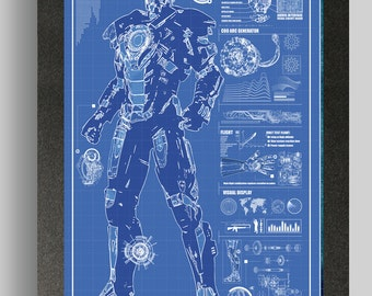 Iron Man Heartbreaker Suit Blueprints 16x24
