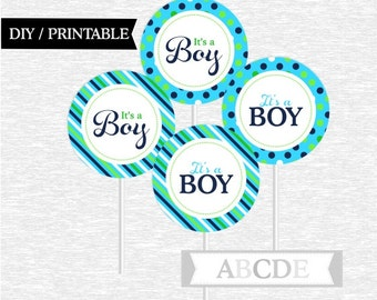 Instant Download Navy, Blue, Lime Green Cupcake Toppers, polka dots, stripes, Its a boy toppers DIY Printable (PDDO001)