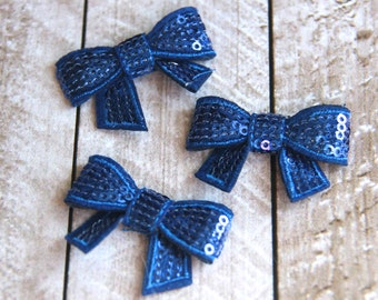 """Set of 3 1.75"""" Royal Blue Petite Sequin Bows - For DIY Headbands & Accessories"""