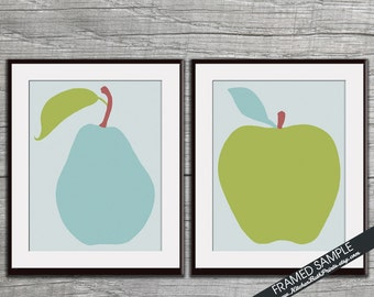 Modern Pear and Apple - Set of 2 Art Prints (Featured on Fog Grey) Kitchen Art Print Posters