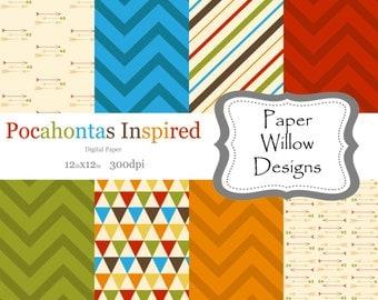 Pocahontas Inspired-(08)-12x12 Digital Papers-Instant Download-Arrows-Chevron-Geo-Aztec