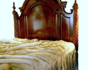 Plush  Faux Fur Bedspread - Arctic Fox - Warm Off White with Brown Tips - Soft Minky Cuddle Fur Lining