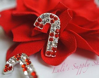 Candy Cane Rhinestone Embellishments - Christmas rhinestone buttons - Metal Rhinestone Embellishments - Hair Bow Centers - Ribbon Sliders