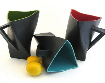 Twisty Triangle Ceramic Pitcher, Black with Bright Colors, Contemporary, Modern