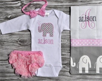 Elephant baby gift etsy gray and pink elephant baby gift set includes personalized bodysuit burpcloth bloomers and bow baby shower negle Images