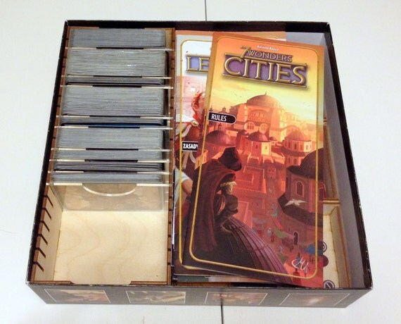 7 wonders board game wood insert to store all by for Board game storage solutions