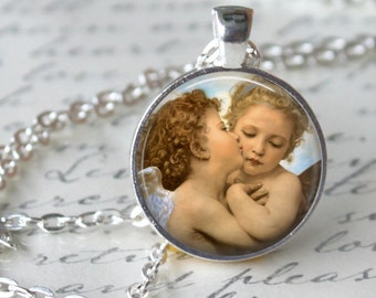 The First Kiss Angels Pendant Necklace Cherub Angel Wings by William-Adolphe Bouguereau Art Necklace Handmade Pendant (208)