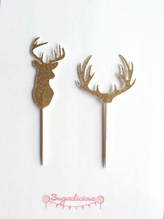 Deer Head Antler Cupcake Toppers Gold Silver X 12