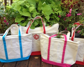 SALE!!!!! The Best Monogrammed Medium Canvas Tote -- Lots Of Colors and Monogrammed Styles Including Greek Letters Available!