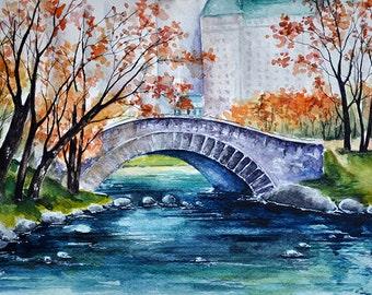 ORIGINAL Watercolor Painting, Central Park Landscape, New York 9x12 Inch