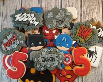 Superhero Cookies, Comic Cookies, Batman Cookies, Superman Cookies, Spiderman Cookies, Boy Cookies, Boy Birthday