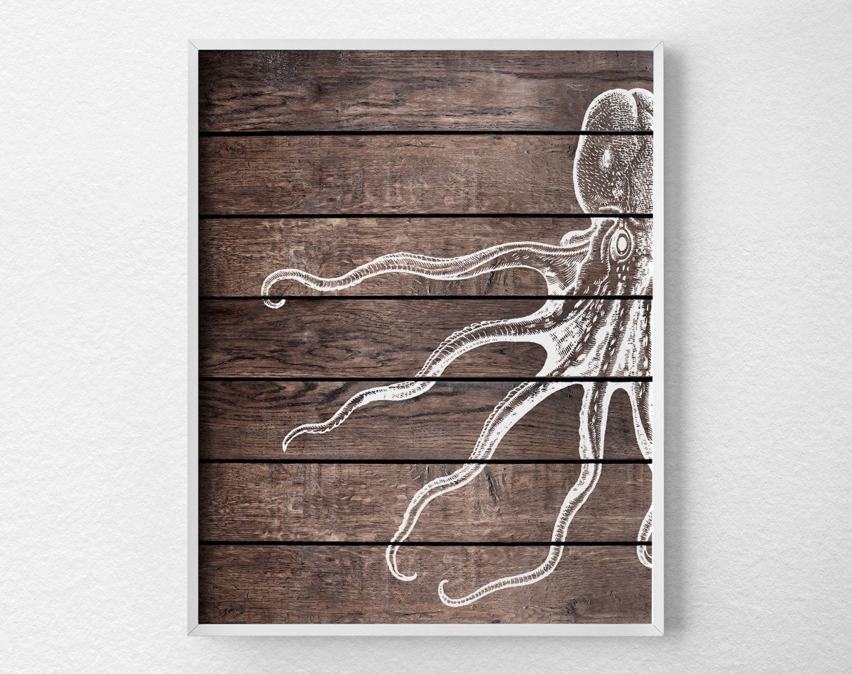 Nautical Octopus Art Print Nautical Bathroom Octopus Art