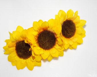 Yellow  triple sunflower barrette , Spring and Summer barrette , Sunflower  Hair Clip, Flower Hair Accessory By Rio's bows