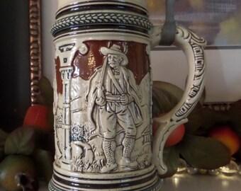 German Beer Stein, Antique Beer Stein, Albert Jacob Thewalt, Beer Stein, Tankard, Vintage Beer Mug, Collectible Stein, Earthenware