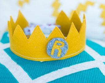 Custom Felt Crown, Letter Medallion, Number Medallion, Velcro Medallion