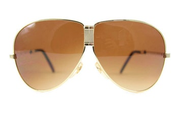 Vintage 1980s Cool Gold Fold Away Aviator Sunglasses with Dark Amber Brown Lenses