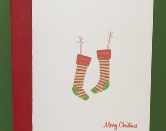 Christmas Stocking Greeting Care - Christmas Greeting Card - Stocking Card