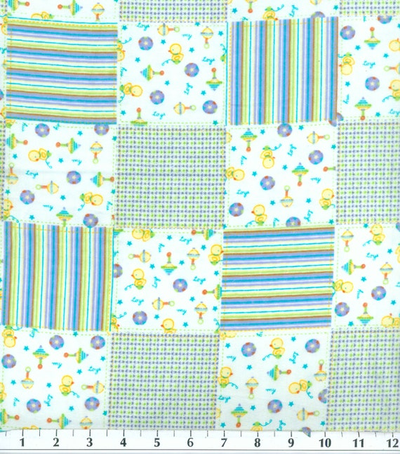 Baby boy toy patch flannel fabric sold by the 1 2 yard for Children s flannel fabric by the yard