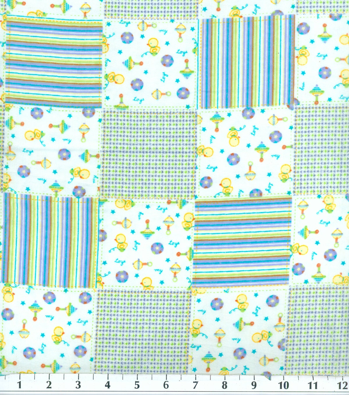 Baby boy toy patch flannel fabric sold by the 1 2 yard for Baby fabric by the yard