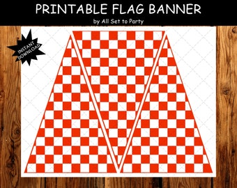 Pizza Party, Pizza Birthday Party Decorations, Pizza Party Red Checkered Flag Banner, Pennant Banner, DIY Party Printables, Instant Download
