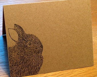 Bunny rabbit linocut block print card