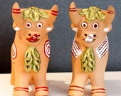 Andean terracotta Pucara Lucky Bull 4in Tall set of two