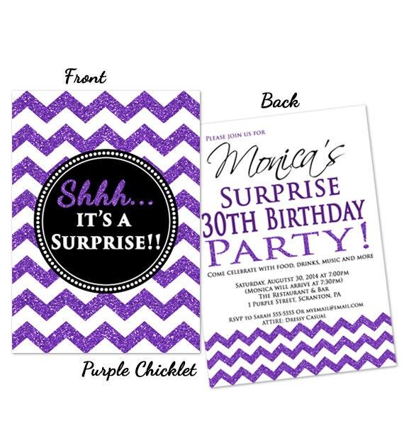 Purple Surprise Birthday Invitation 30th 18th By